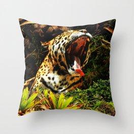 Jaguar Roar Yawn Throw Pillow