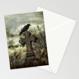 Gothic Crow Perched On A Old Cross Stationery Cards