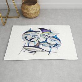 Pacific Billfish Slam Marlins,Sailfish,Swordfish,Spearfish Rug