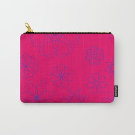 Red with blue cobalt flowers Carry-All Pouch