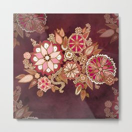 Golden Embroidery Flowers Metal Print