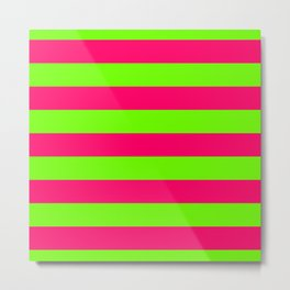 Bright Neon Green and Pink Horizontal Cabana Tent Stripes Metal Print