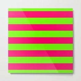 Bright Neon Green and Pink Horizontal Cabana Tent Stripes Metal Print
