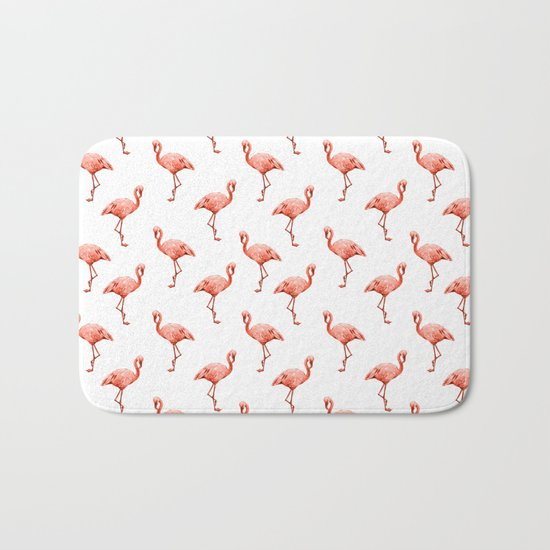 Simply Pink Flamingo in Deep Coral on White Bath Mat