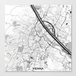 Vienna City Map Gray Canvas Print