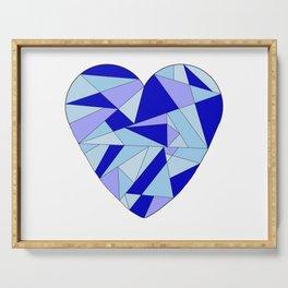 Fractal Blue Heart Serving Tray
