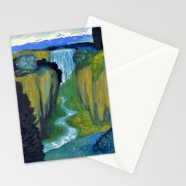 Floral Garden Landscape with Waterfall by Franz von Stuck Stationery Cards