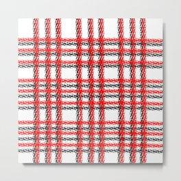 Red Black Plaid Halftone Metal Print