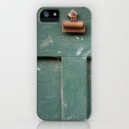 Green door with rusty clip iPhone Case