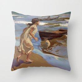 Joaquin Sorolla y Bastida - The Bathing Hour Throw Pillow