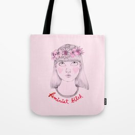 Floral Feminist Bitch Tote Bag