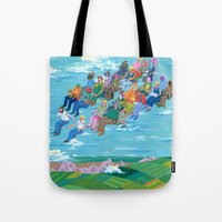 plane Tote Bags featuring Plane Without Plane by Valeriya Volkova