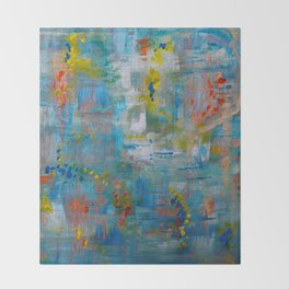 Modern Abstract Wall Art, A NEW Look, Blue vivid colors, living room wall art Throw Blanket