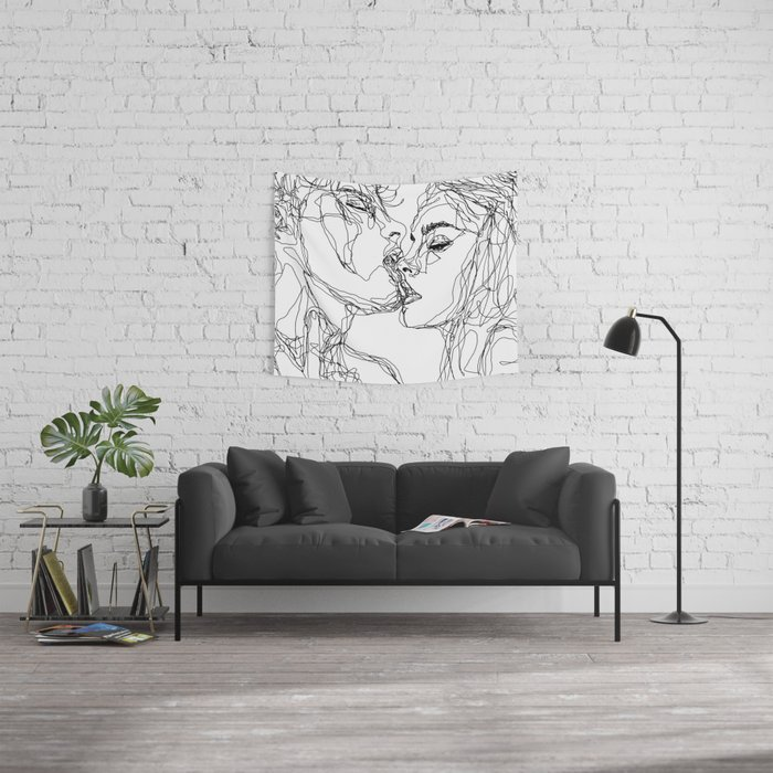 kiss more often (B & W) Wall Tapestry