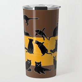 Cute Black Cats on the Sofa | Brown Travel Mug