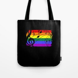 LGBT Rainbow Flag Music Tote Bag