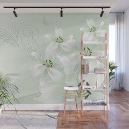 Modern White Lilies (light green) Wall Mural