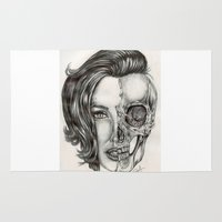 angelina jolie Area & Throw Rugs featuring Half Dead - Angelina Jolie x Scull by Somita