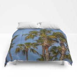 Palm Trees on Laguna Beach in California Comforters
