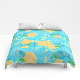 06 Yellow Blooms on Blue Comforters