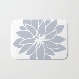 Flower Bluebell Blue on White Bath Mat