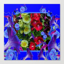 HOLLYHOCKS & MORNING GLORIES COTTAGE BLUE ART Canvas Print