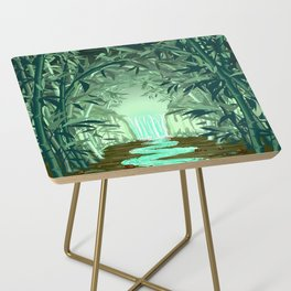 Fluorescent Waterfall on Surreal Bamboo Forest Side Table