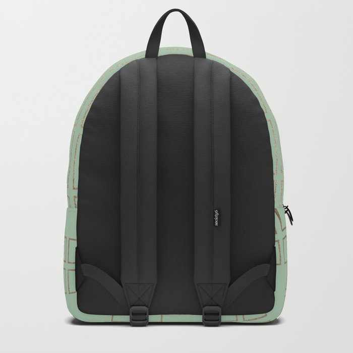 Simply Mid-Century in White Gold Sands and Pastel Cactus Green Backpack