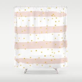 Pink Stripes & Gold Confetti Shower Curtain