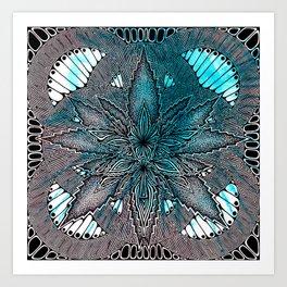 Blue Cannabis Leaf Art Print
