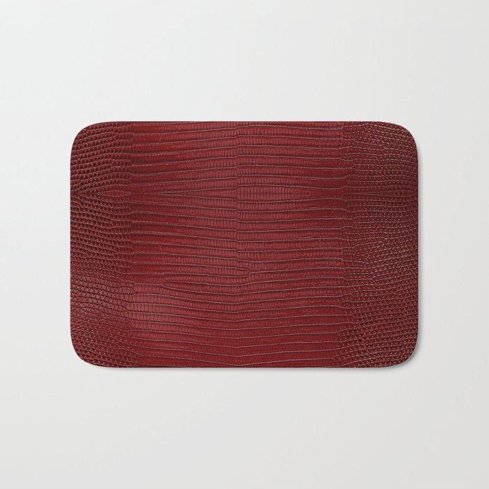 Red Lizard Leather Print Bath Mat