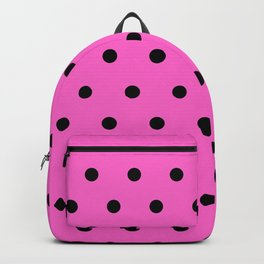 Frenchie - Black Polka Dots in Pink Backpack