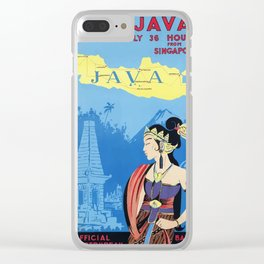 Vintage travel poster - Visit Java Clear iPhone Case