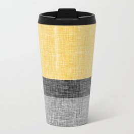 Yellow Grey and Black Section Stripe and Graphic Burlap Print Travel Mug