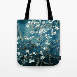 Van Gogh Almond Blossoms : Dark Teal Tote Bag