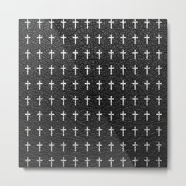 White Crosses Pattern Black Leather Photo Print Metal Print