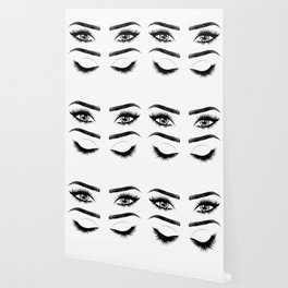 Eyes with long eyelashes and brows Wallpaper