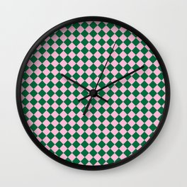 Cotton Candy Pink and Cadmium Green Diamonds Wall Clock