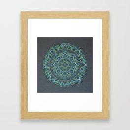 Blue and Green Mandala Framed Art Print