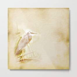 Antique style blue heron on textured background Metal Print