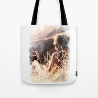 big sur Tote Bags featuring BIG SUR by TOO MANY GRAPHIX