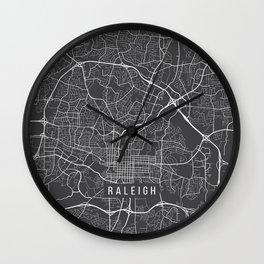 Raleigh Map, USA - Gray Wall Clock
