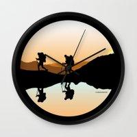 hiking Wall Clocks featuring HIKING by Şemsa Bilge (Semsa Fashion)