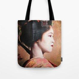 ' Beauty of Geisha ' - oriental japanese lady digital portrait painting Tote Bag