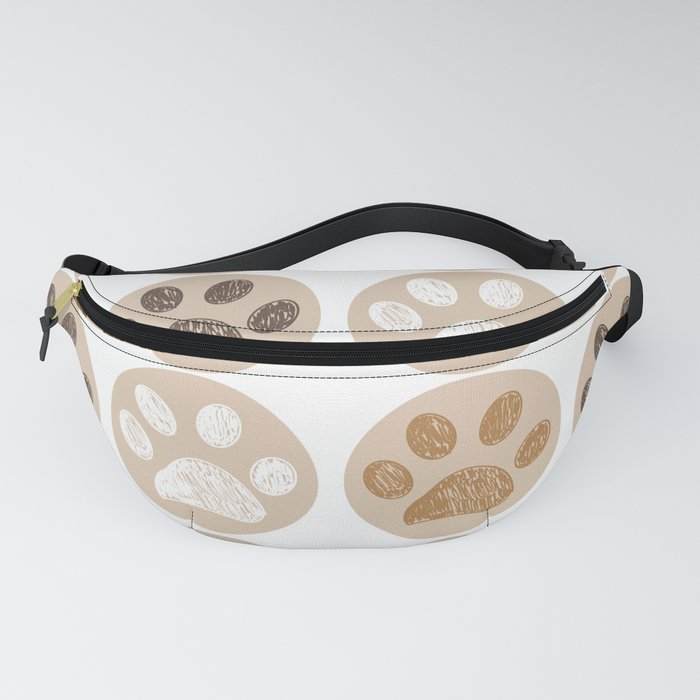 Brown colored doodle paw print Fanny Pack