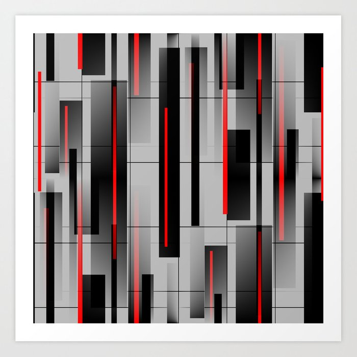 Off the Grid - Abstract - Gray, Black, Red Kunstdrucke