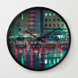 Taxi stop in the rain Wall Clock