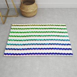 Multicolour Chrome Wiggle Line Pattern Rug
