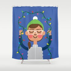 Holiday with Lights Shower Curtain