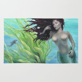 Calypso Nude Mermaid Underwater Rug